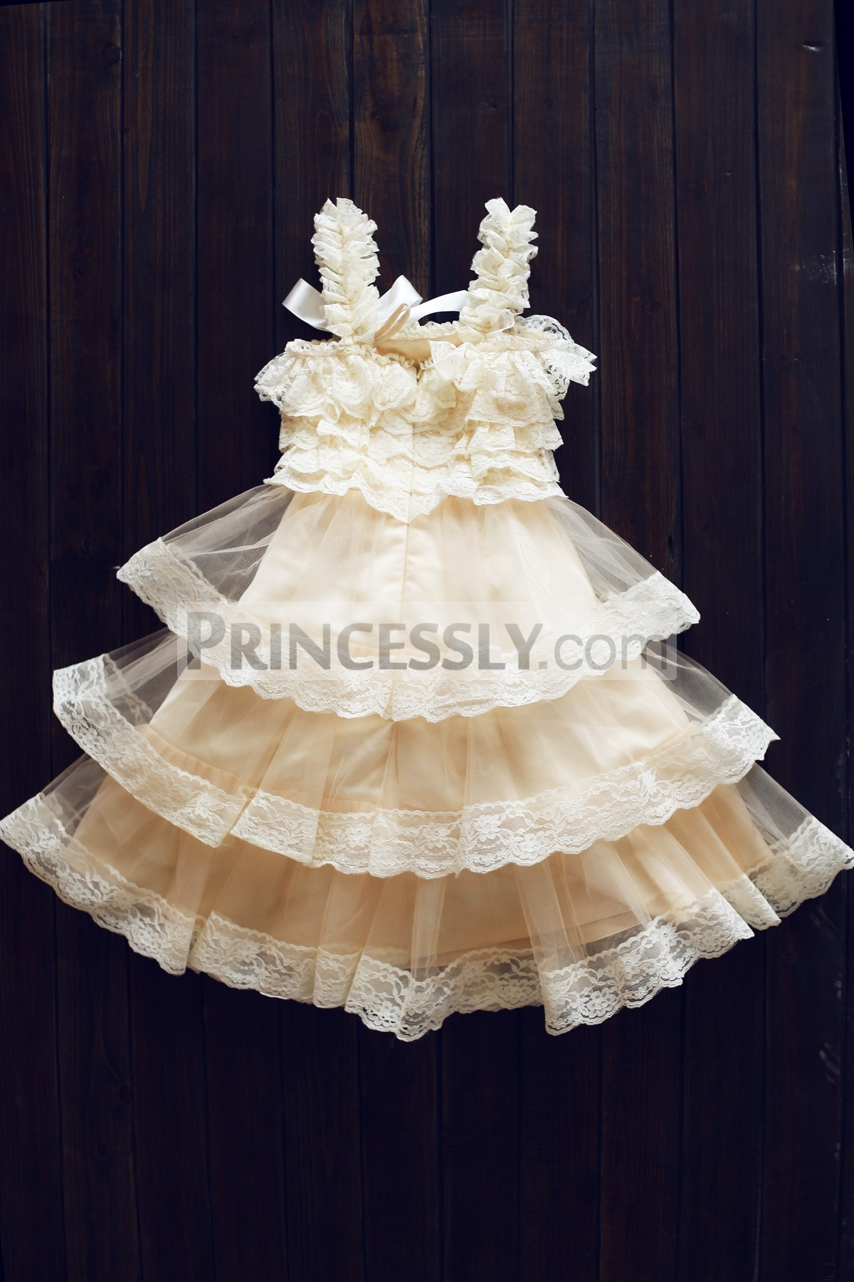 Fully lined lace tulle wedding flower gilr dress