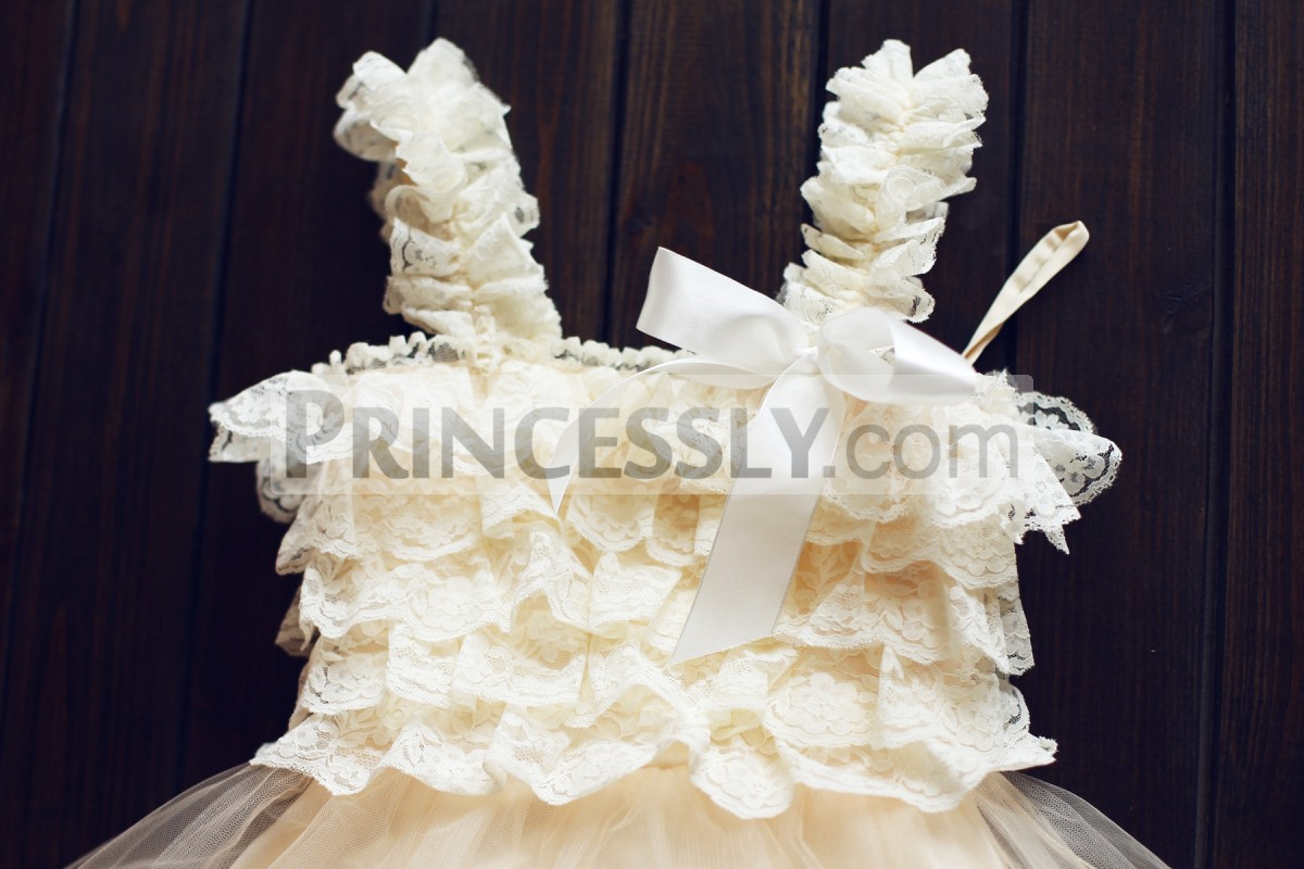 Lace straps and bodice with a ribbon bow