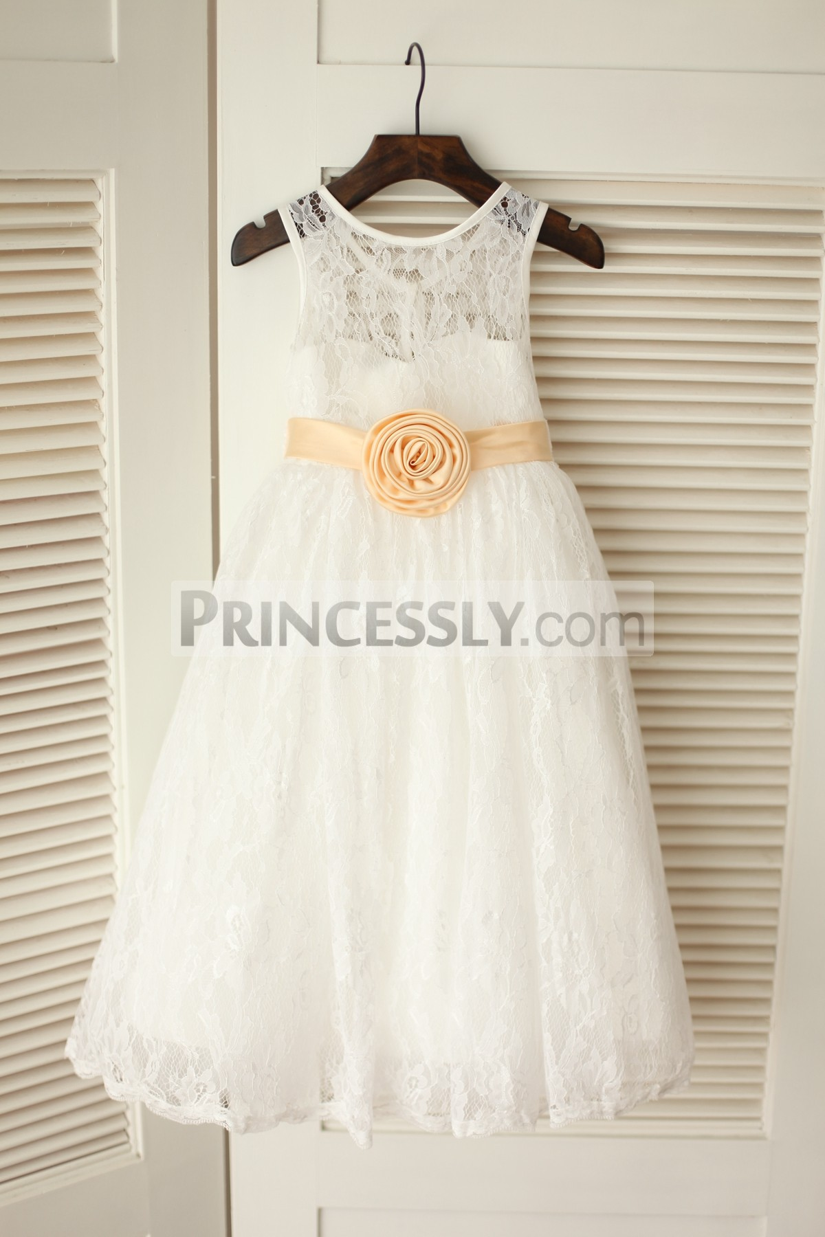 Ivory lace satin lining flower girl dress