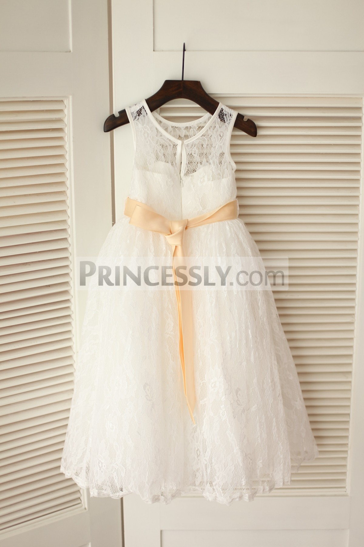 Ivory lace long wedding baby girl dress with sash