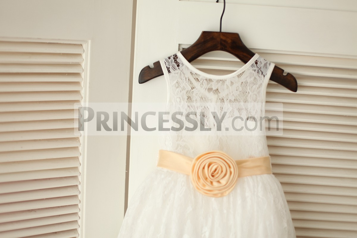 Sheer lace bodice with champagne handmade flower sash