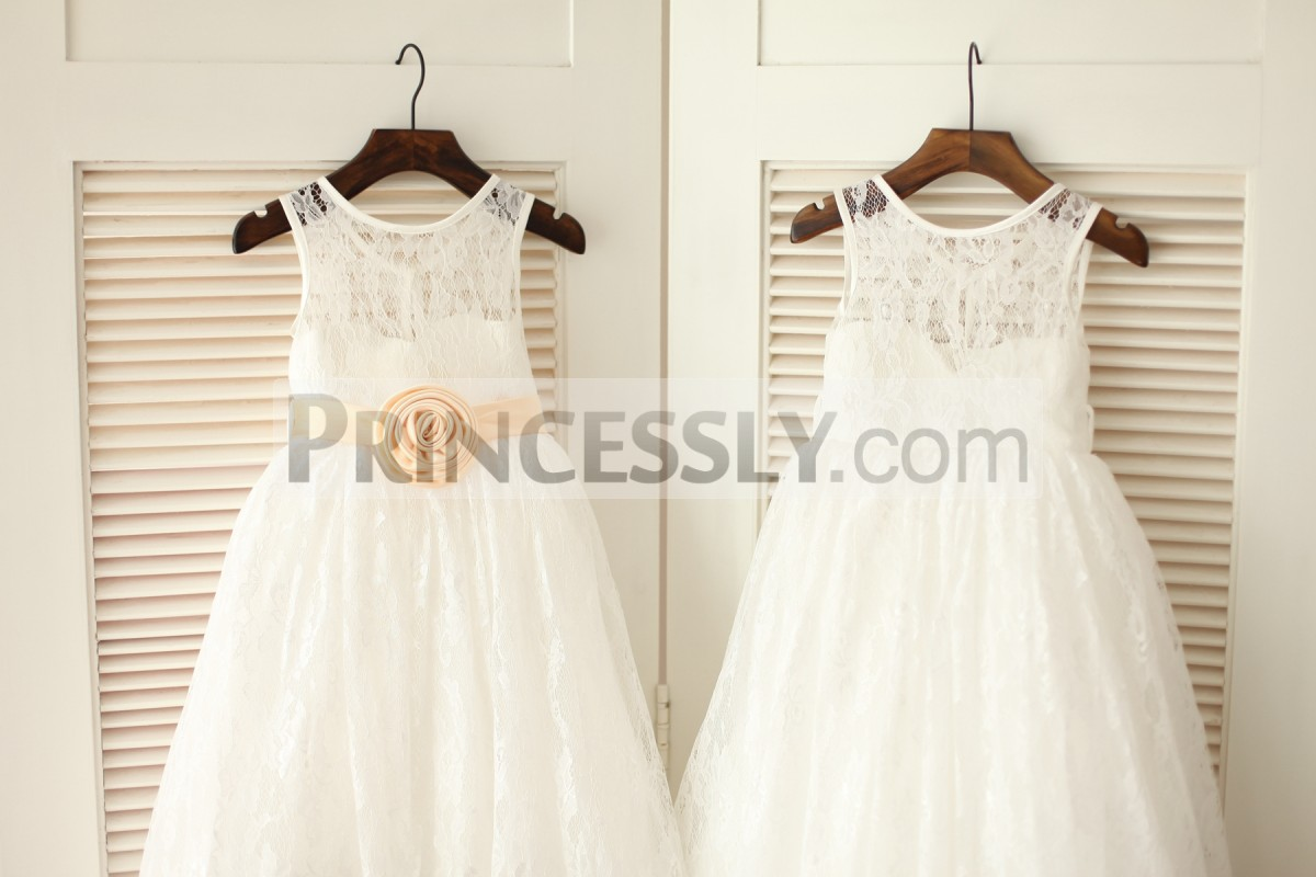 Princess ivory lace long dress