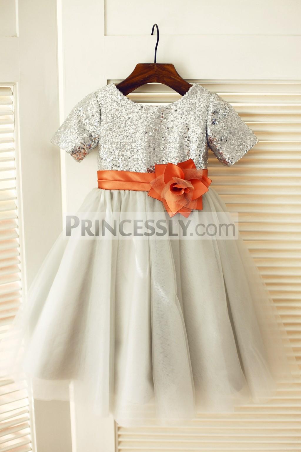 Silver sequins gray tulle flower girl dress