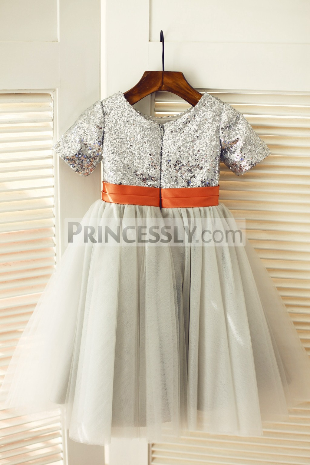 Silver sequins gray tulle wedding baby girl dress