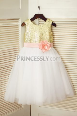 Princessly.com-K1003340-Gold-Sequin-Ivory-Tulle-Wedding-Flower-Girl-Dress-with-Pink-Flower-Belt-31