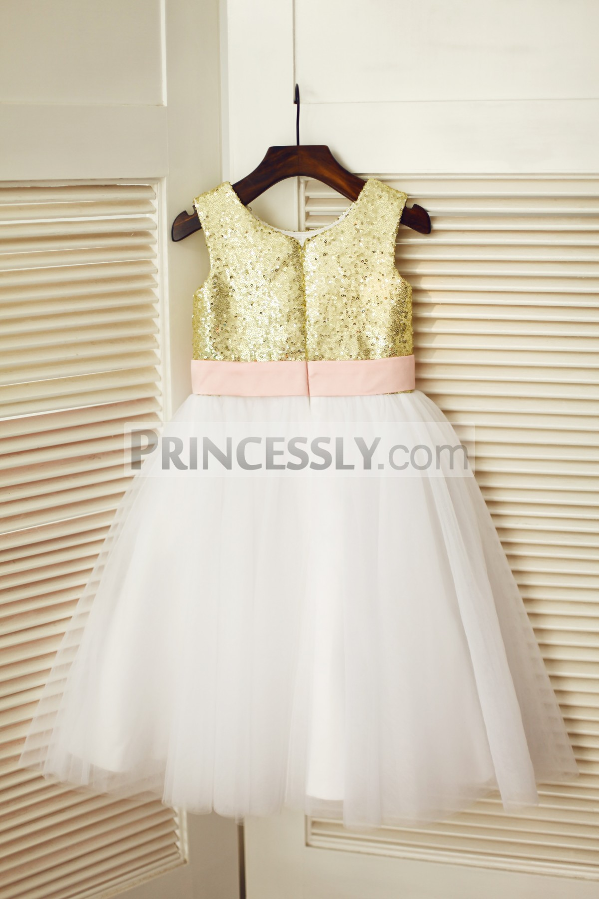 Gold sequins ivory tulle wedding baby girl dress