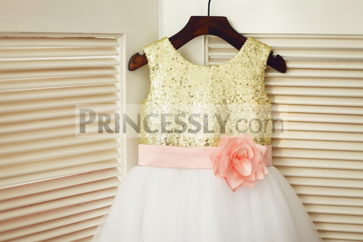 Gold sequined bodice with fixed pink belt & flower