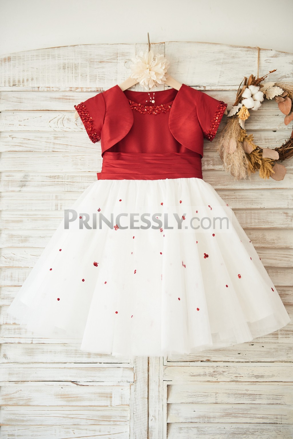 Red taffeta ivory tulle flower girl dress with jacket