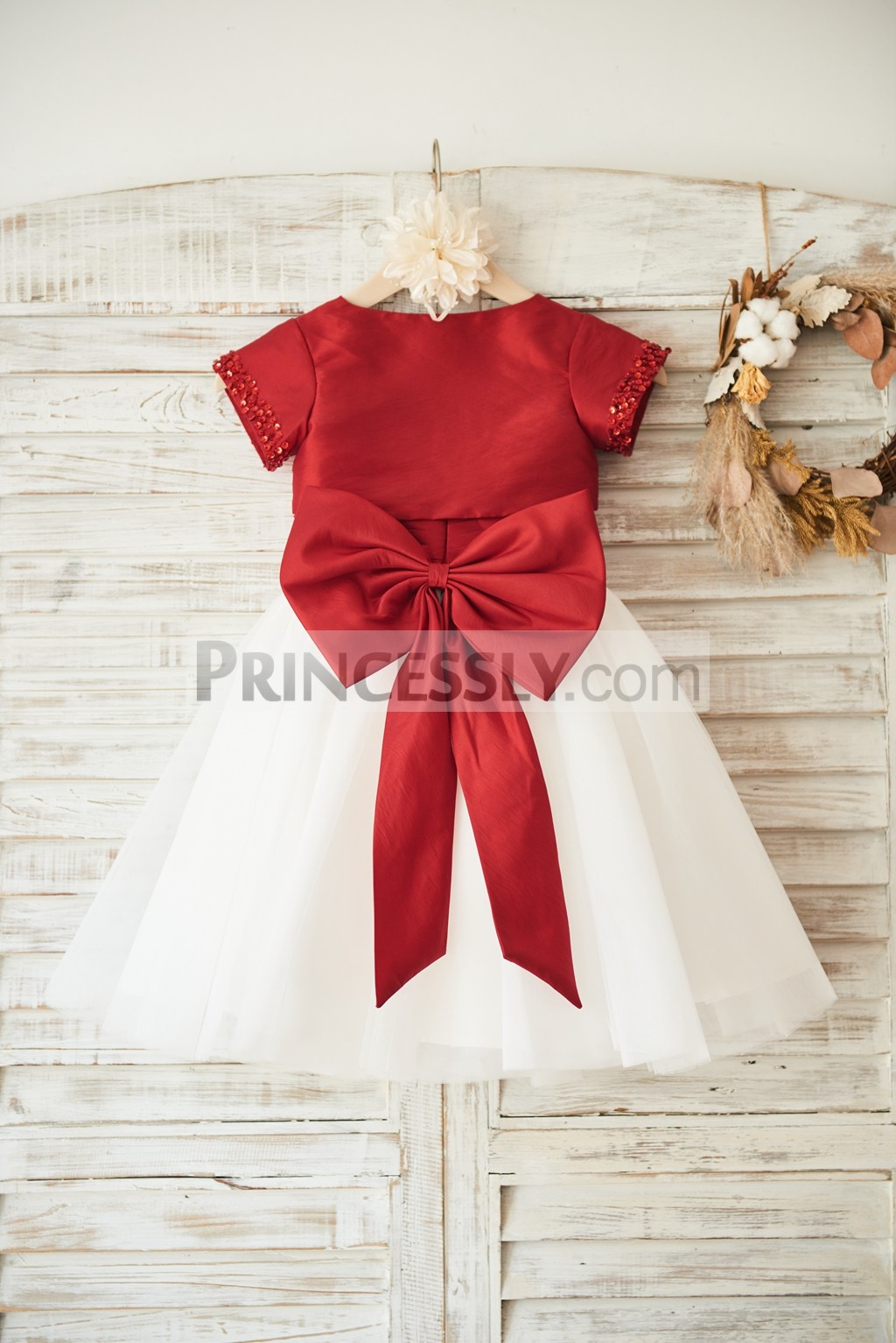 Red taffeta ivory tulle skirt wedding baby girl dress