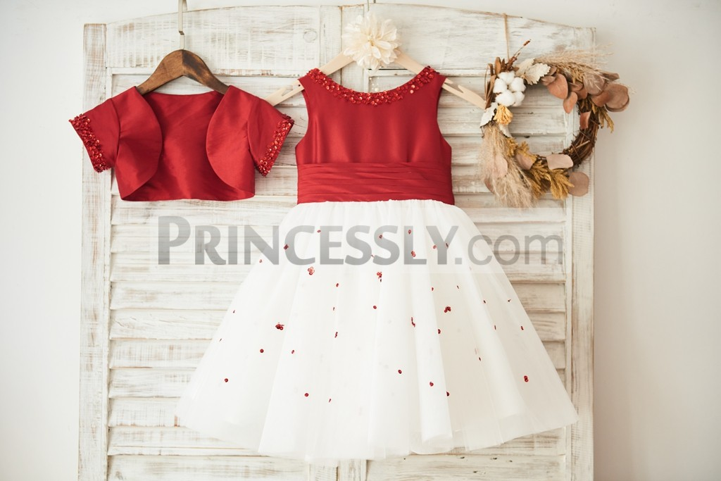 Two pieces flower girl dress with red taffeta jacket