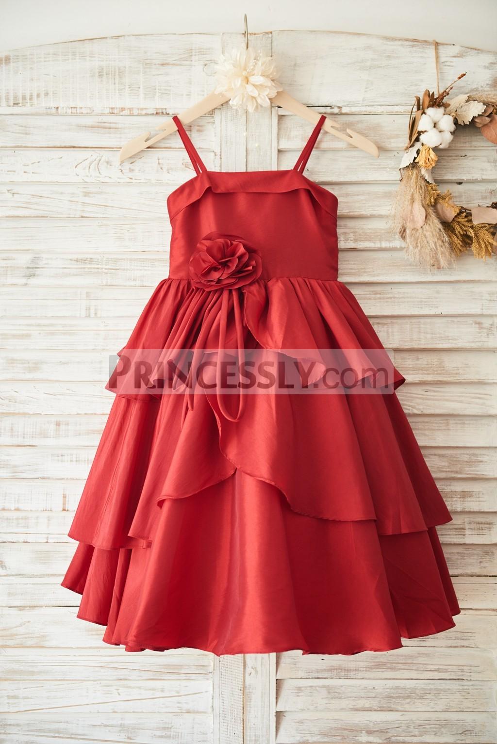 Spaghetti Straps Overlaid Cupcake Red Taffeta Flower Girl Dress W Bow Avivaly,Long Sleeve Sherri Hill Wedding Dresses