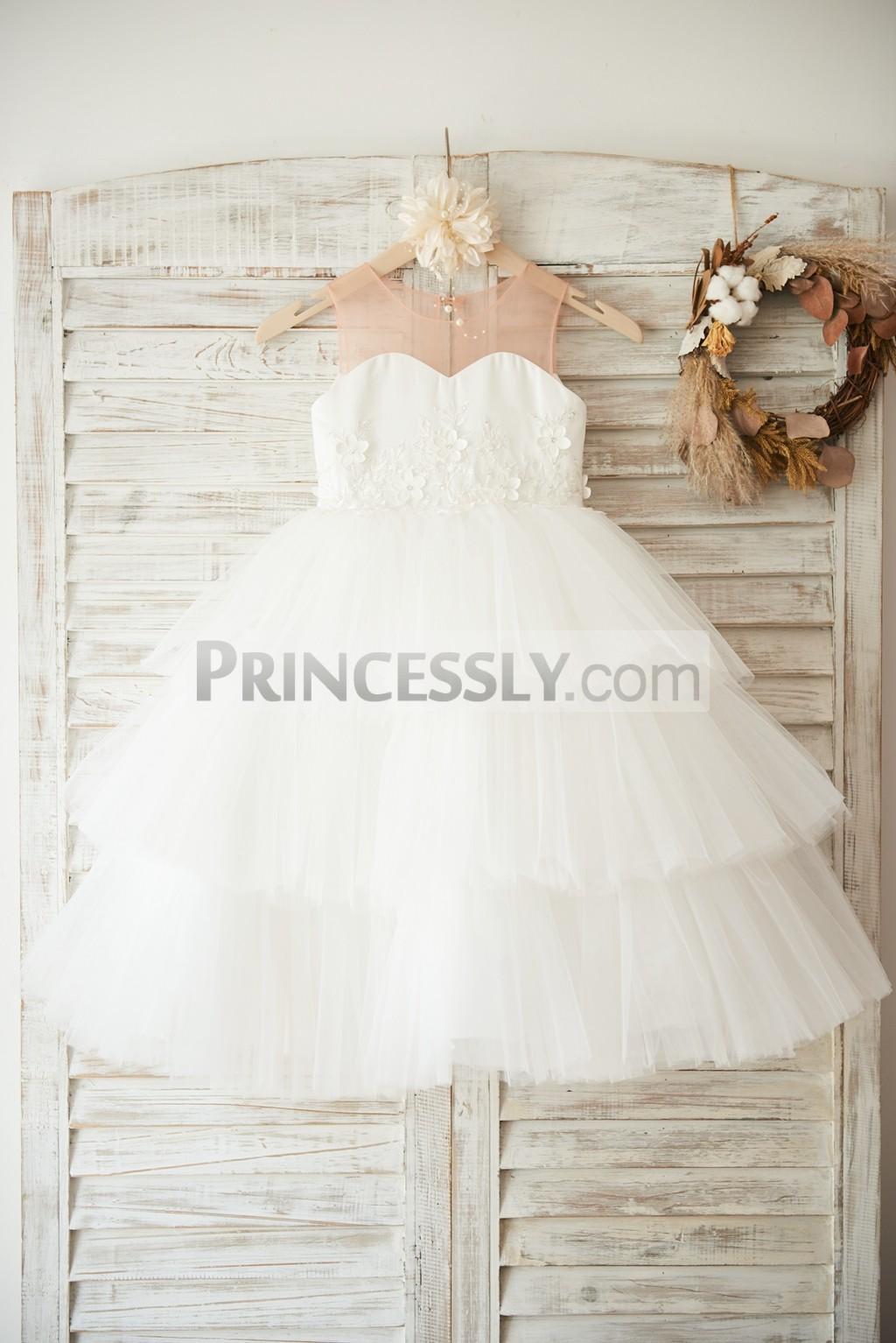 Nude tulle ivory satin tulle cupcake flower girl dress