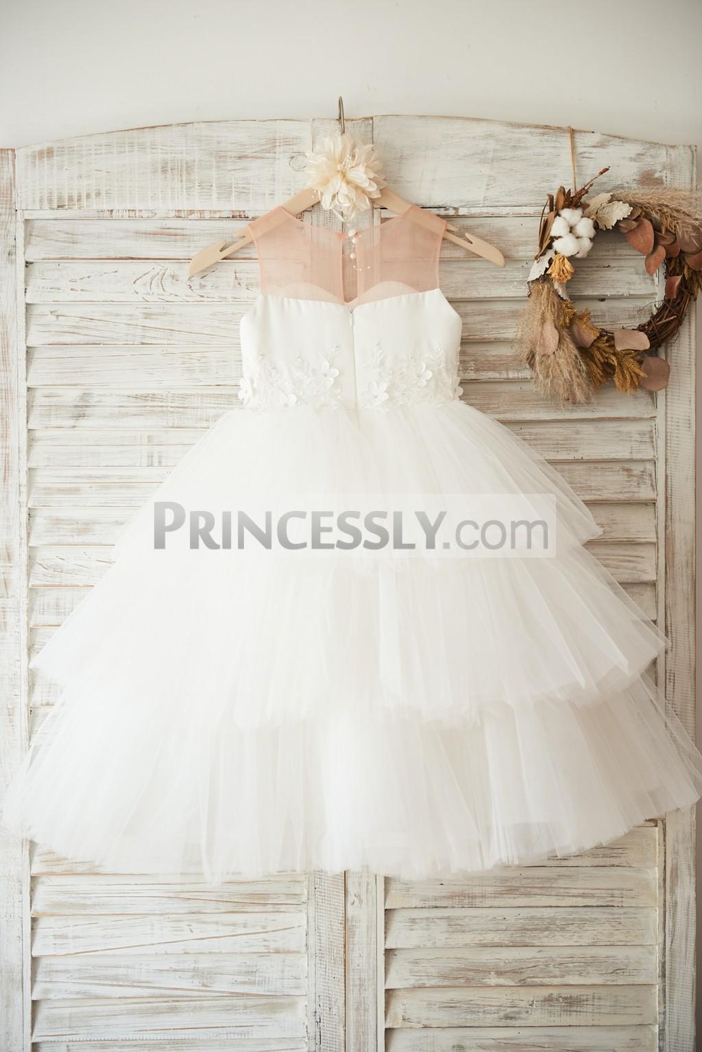 Cupcake wedding baby girl dress with slit on back
