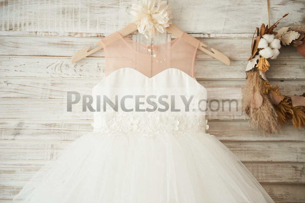 Nude illusion neck with sweetheart satin bodice