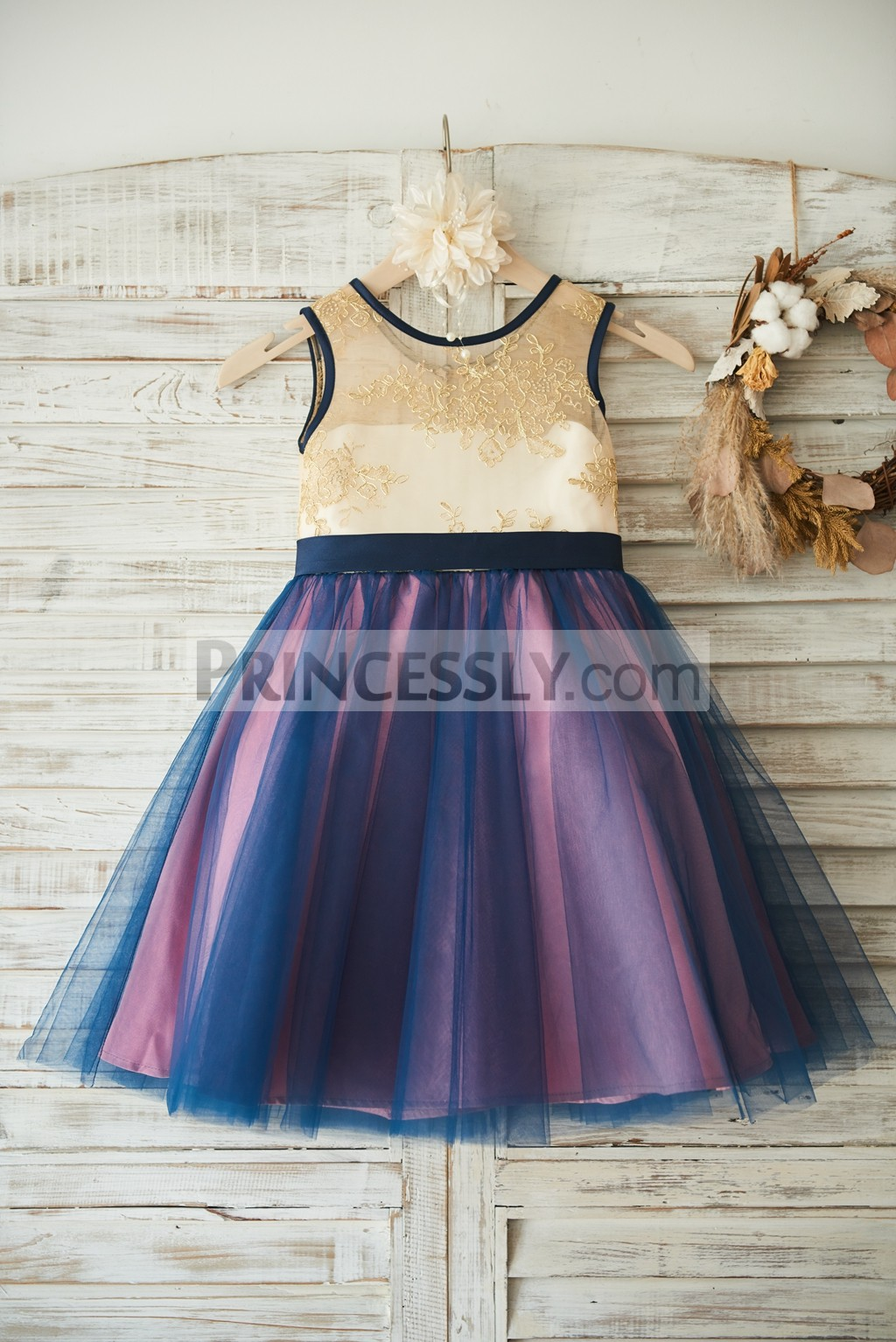 Gold lace navy blue tulle mauve lining flower girl dress