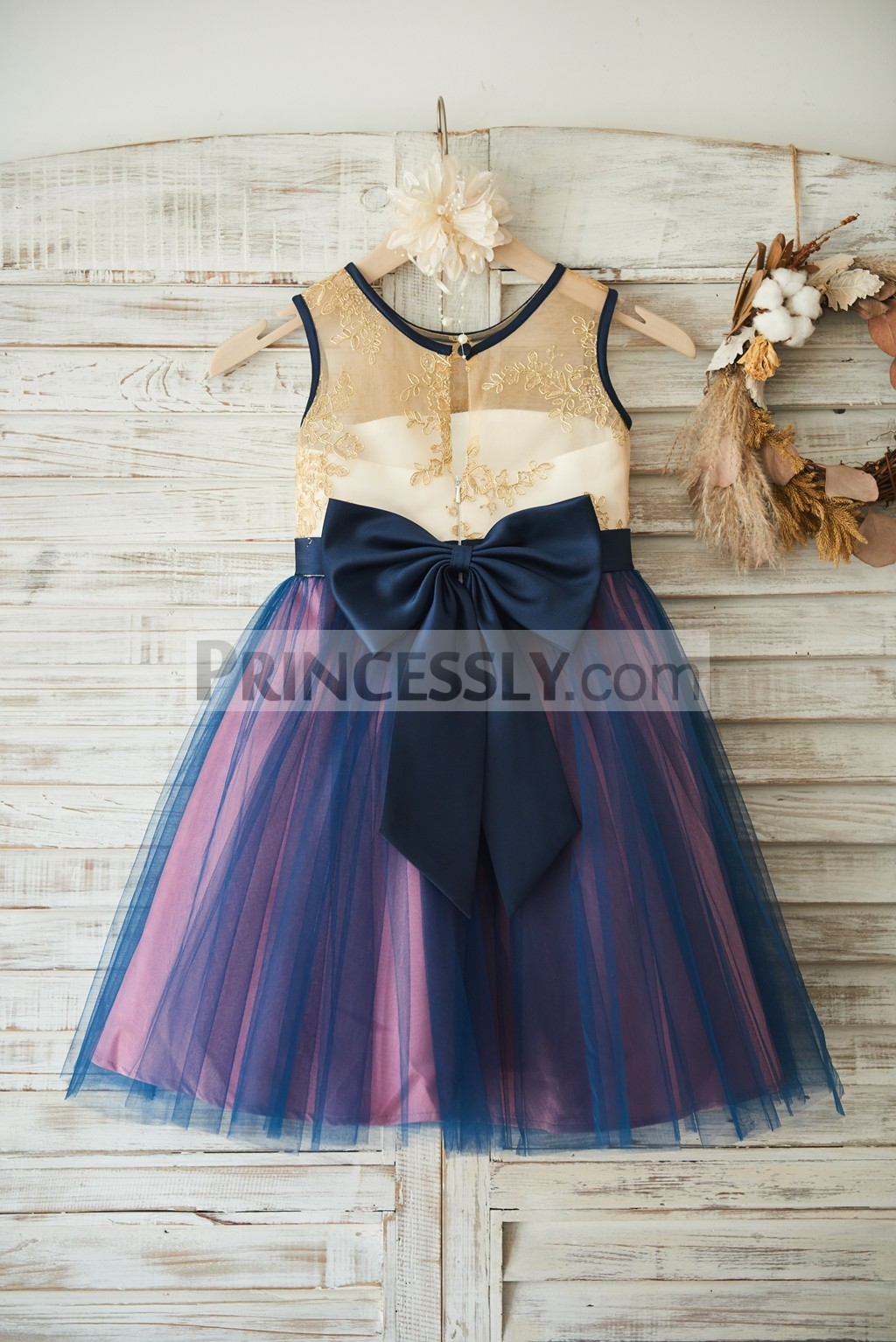 Sheer gold lace embroideries navy blue tulle wedding baby girl dress