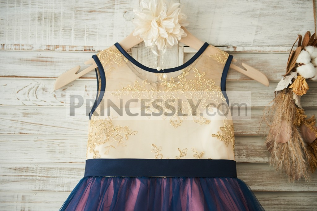 Gold lace embroideries bodice with navy blue belt