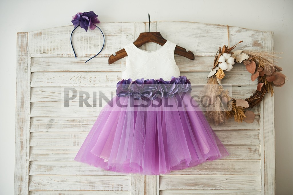 Ivory lace purple tulle flower girl dress