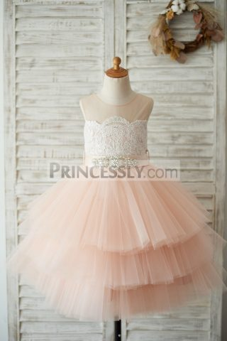 Princessly.com-K1003530-Sheer-Neck-Peach-Pink-Tulle-Lace-Cupcake-Skirt-Wedding-Flower-Girl-Dress-with-beaded-sash-31