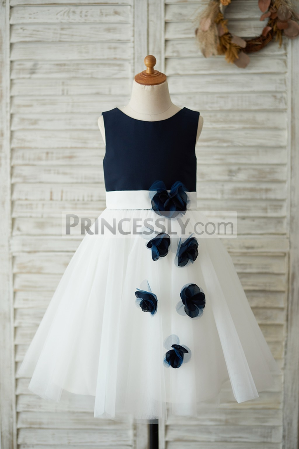 Navy blue satin ivory tulle wedding baby girl dress