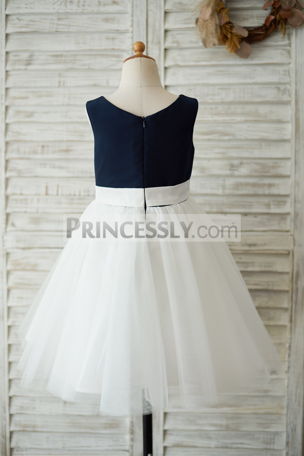 Zipper back navy blue satin ivory tulle flower girl dress