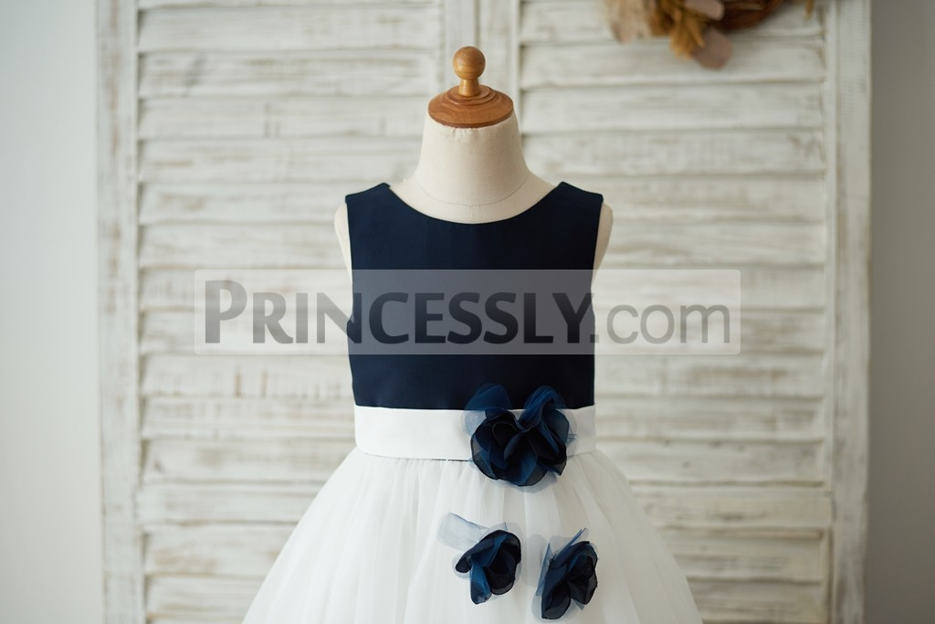 Navy blue satin bodice with fixed ivory belt