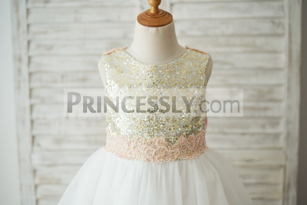 Gold sequins bodice with pink lace belt