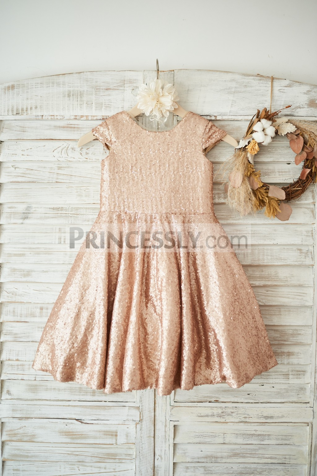 Champagne sequined cap sleeves flower girl dress