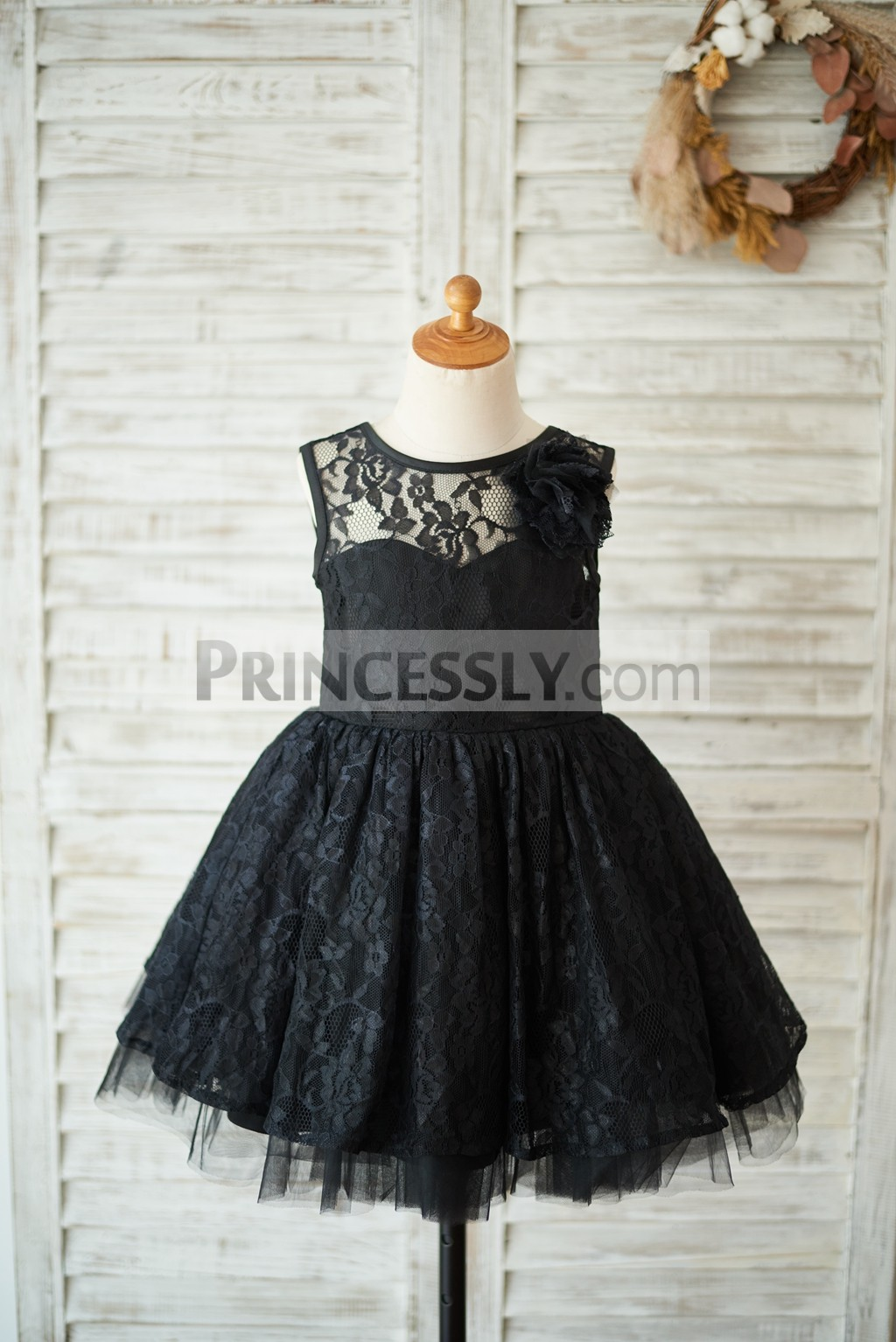 Sheer lace inside sweetheart black lace tulle flower girl dress