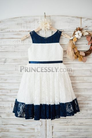 Princessly.com-K1003579-Ivory-Navy-Blue-Striped-lace-Wedding-Flower-Girl-Dress-with-Belt-31