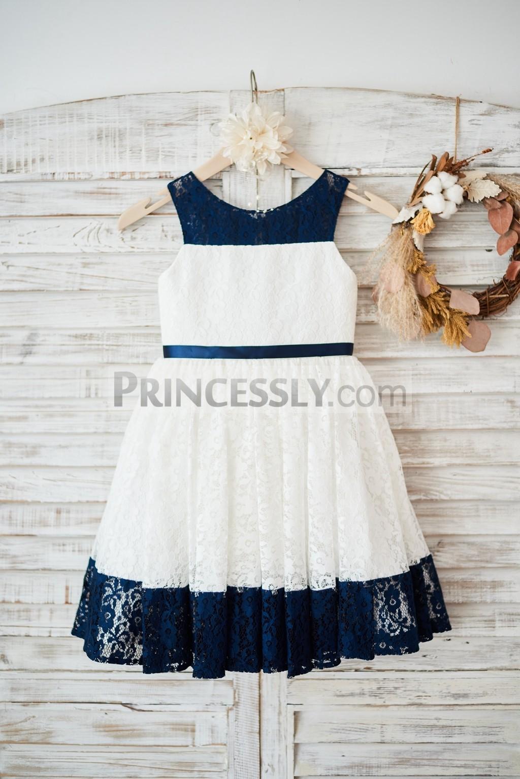 Ivory / Navy blue lace flower girl dress