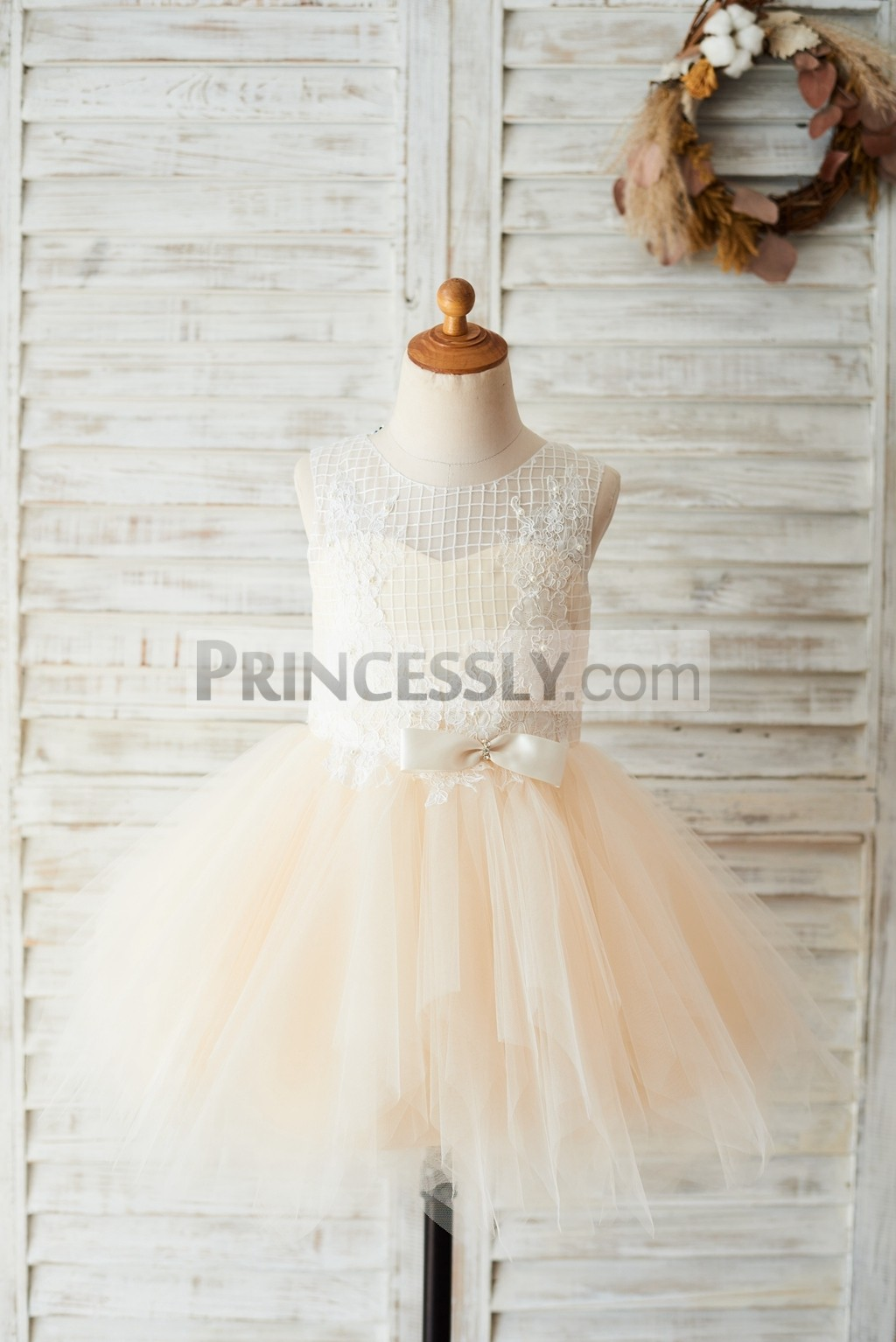 Ivory lace tulle champagne flower girl dress