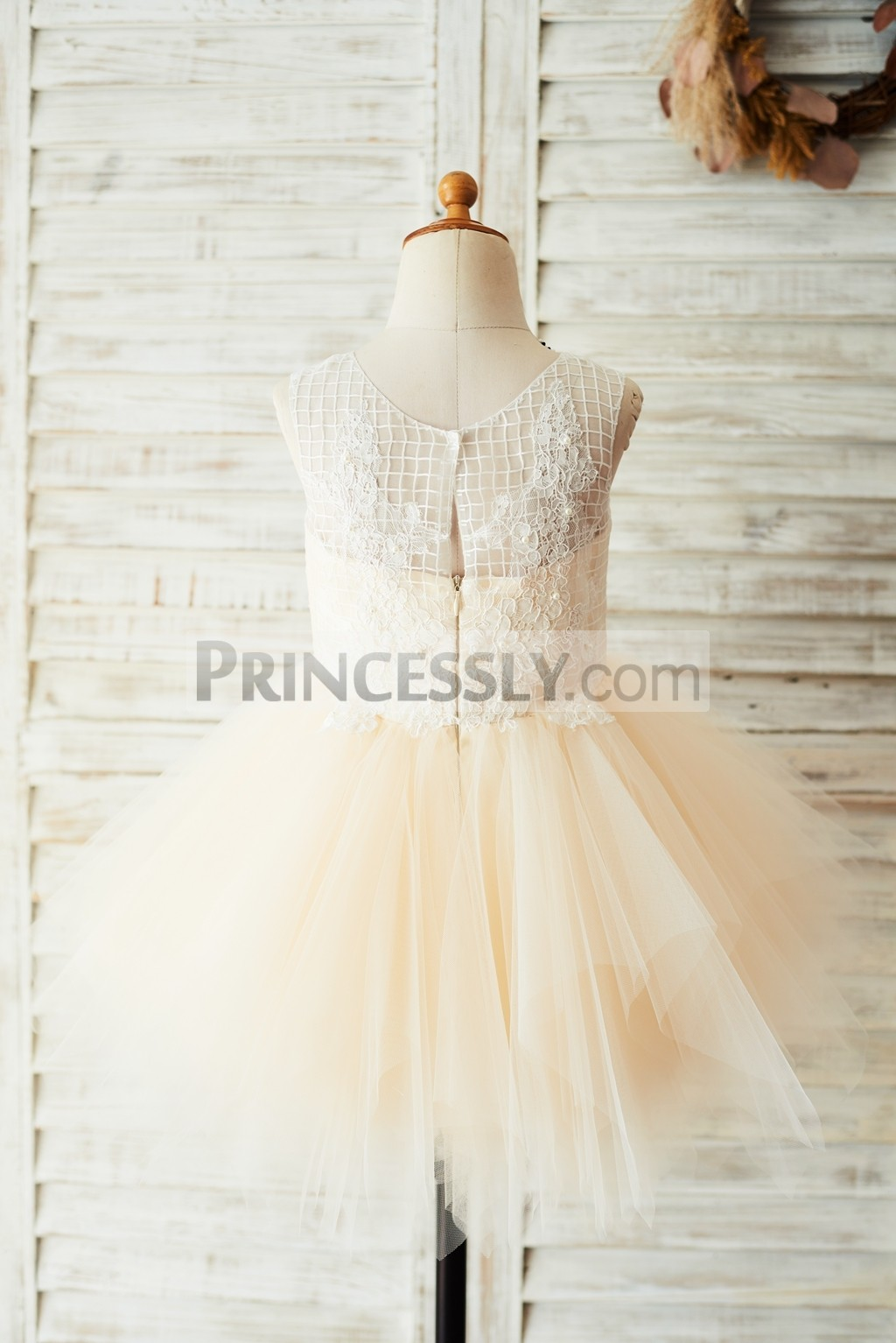 Check pattern lace tulle wedding baby girl dress