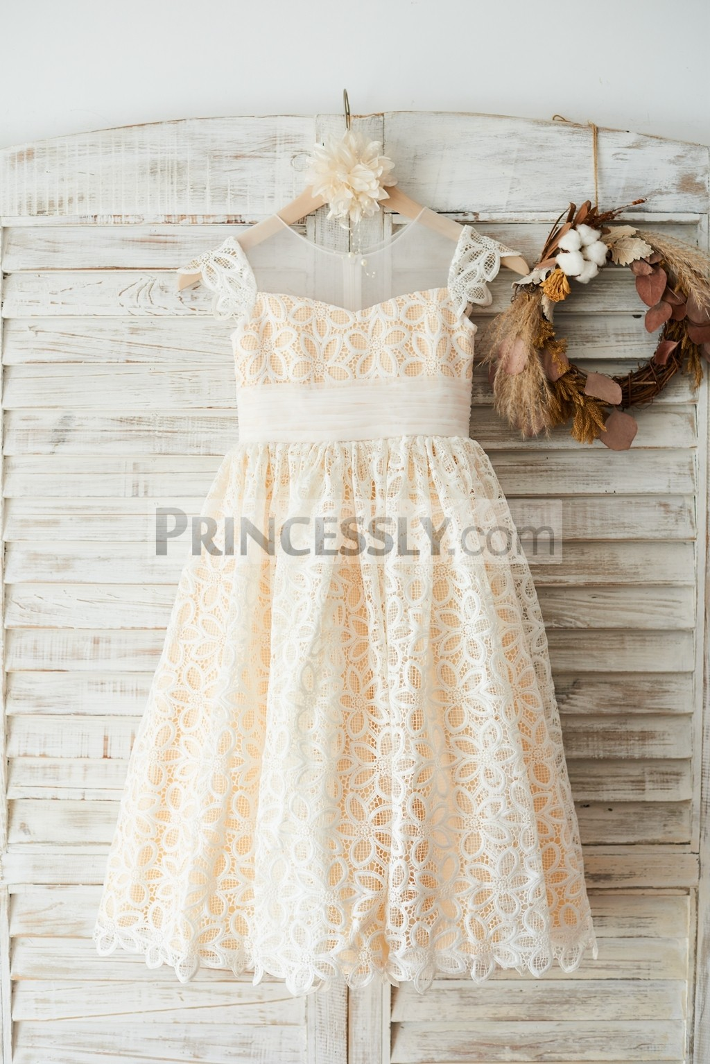 Ivory lace overlay champagne lining flower girl dress