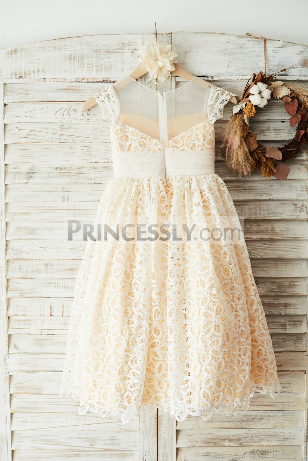 Sheer back ivory lace champagne lining wedding baby girl dress