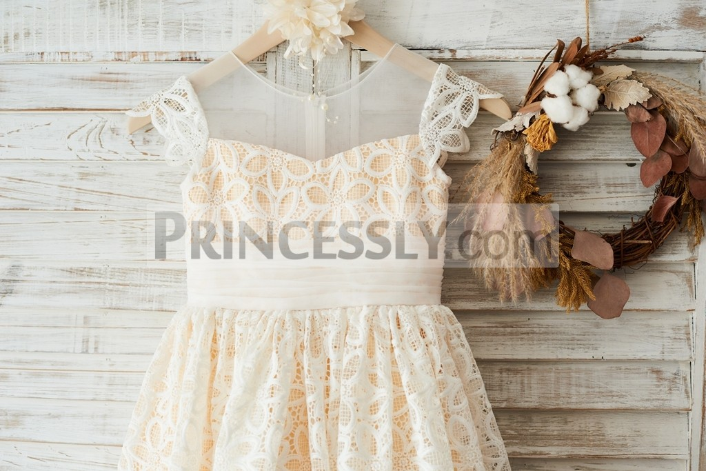 Lace cap sleeves sheer neck ivory lace bodice with pleated tulle waistband