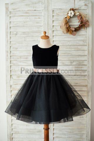 Princessly.com-K1003678-Black-Velvet-Tulle-Keyhole-Back-Wedding-Flower-Girl-Dress-with-Sequin-Bow-32