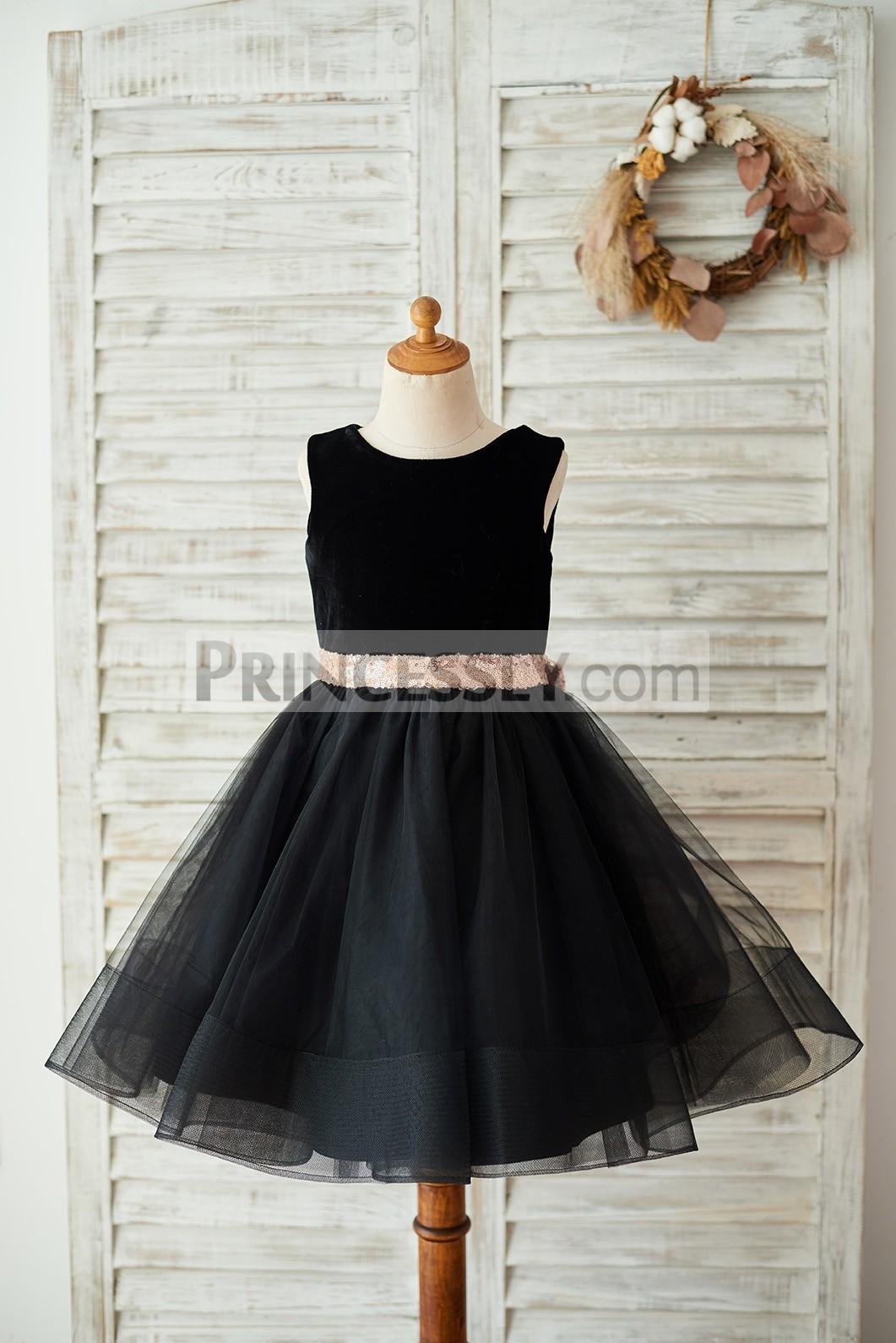Velvet tulle black flower girl dress w/ gold belt & bow