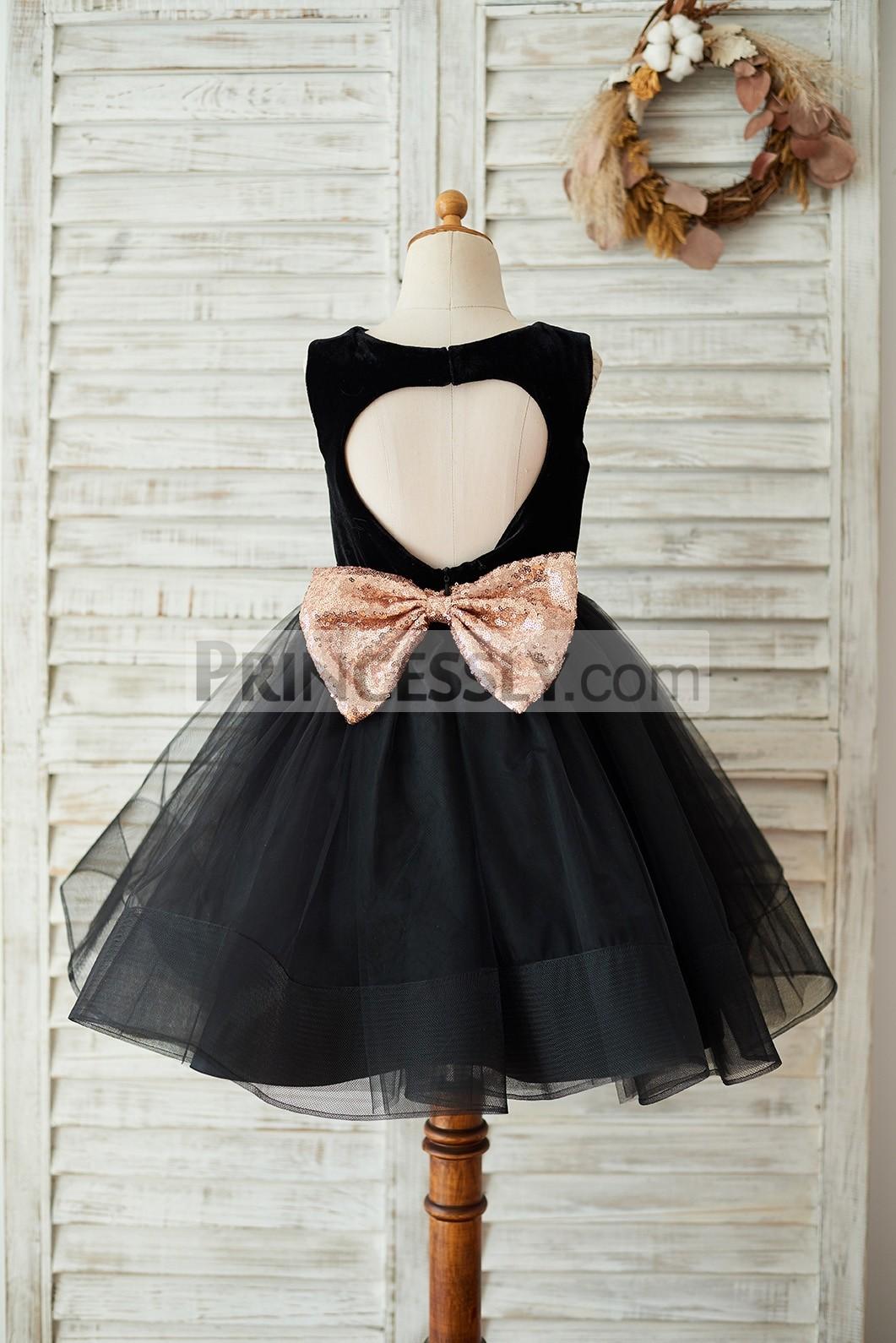 Keyhole back velvet tulle black wedding baby girl dress w/ horsehair hem