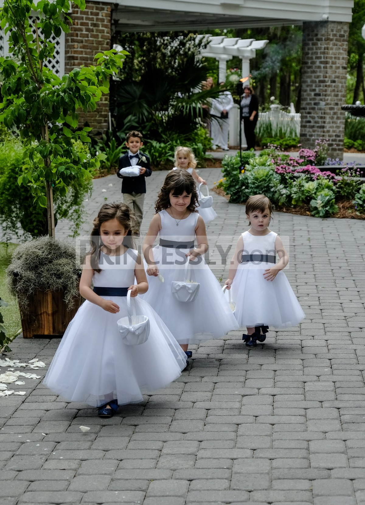 Satin tulle flower girl dress