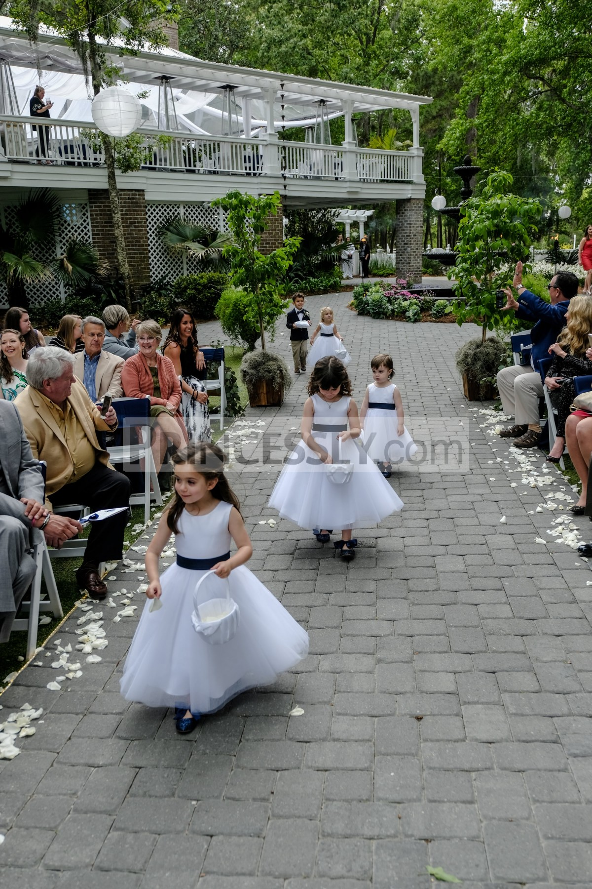 Princess satin tulle wedding baby girl dress with navy blue sash