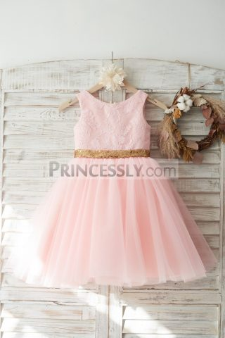 Princessly.com-K1003720-Pink-Lace-Tulle-V-Back-Wedding-Flower-Girl-Dress-with-Gold-Sequin-Bow-31