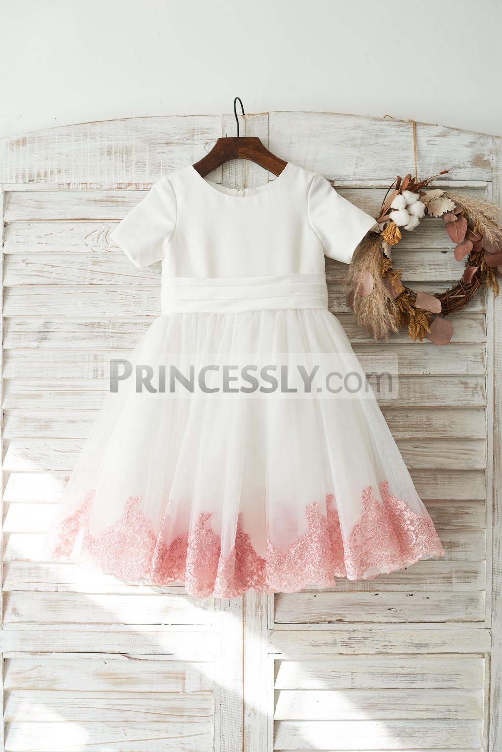Short sleeves ivory satin tulle flower girl dress with coral lace hem