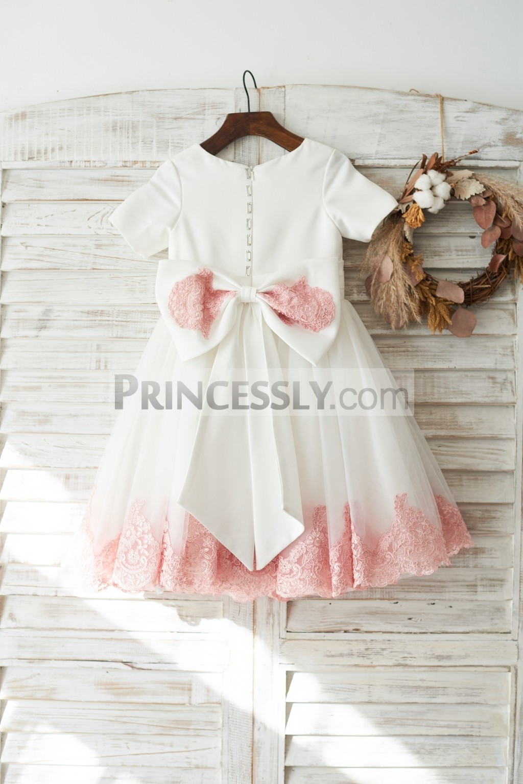 Zipper back with a bow ivory wedding baby girl dress