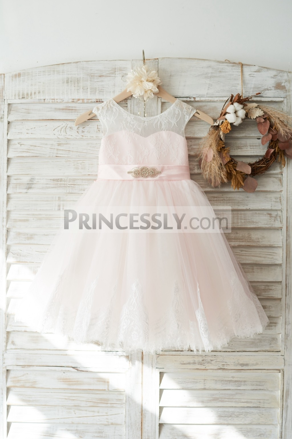 Ivory lace pink tulle flower girl dress