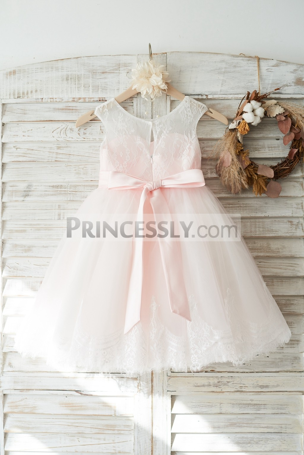 Slit on back pink tulle wedding baby girl dress with beaded sash