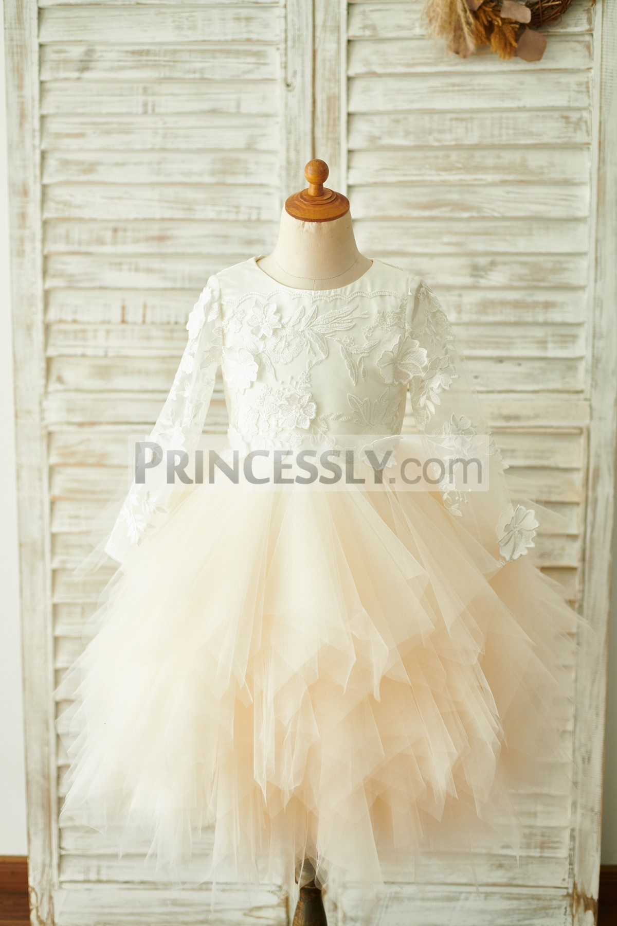 Sheer long sleeves ivory lace champagne tulle flower girl dress