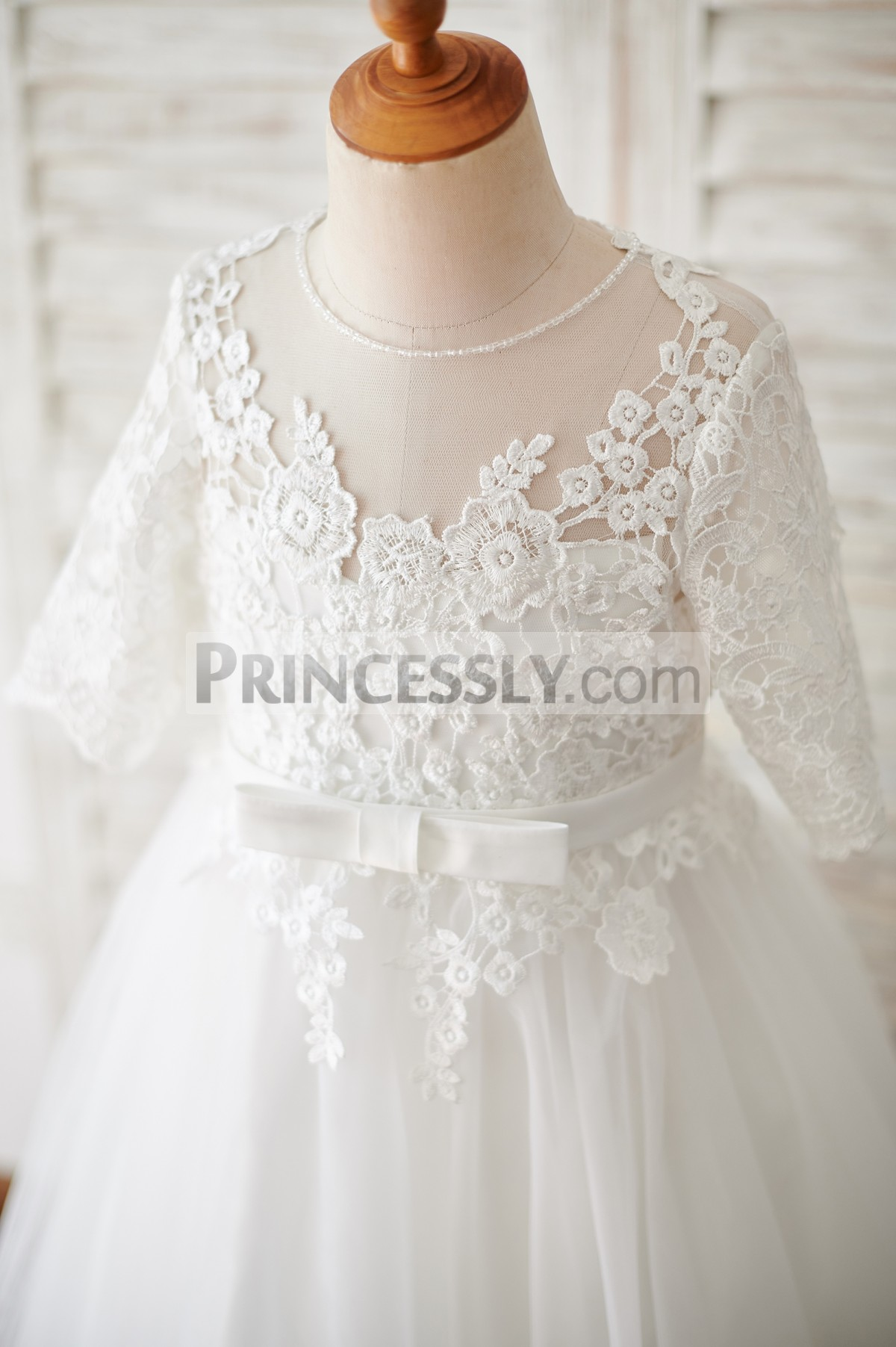 Elbow sleeves beaded neckline crochet lace bodice