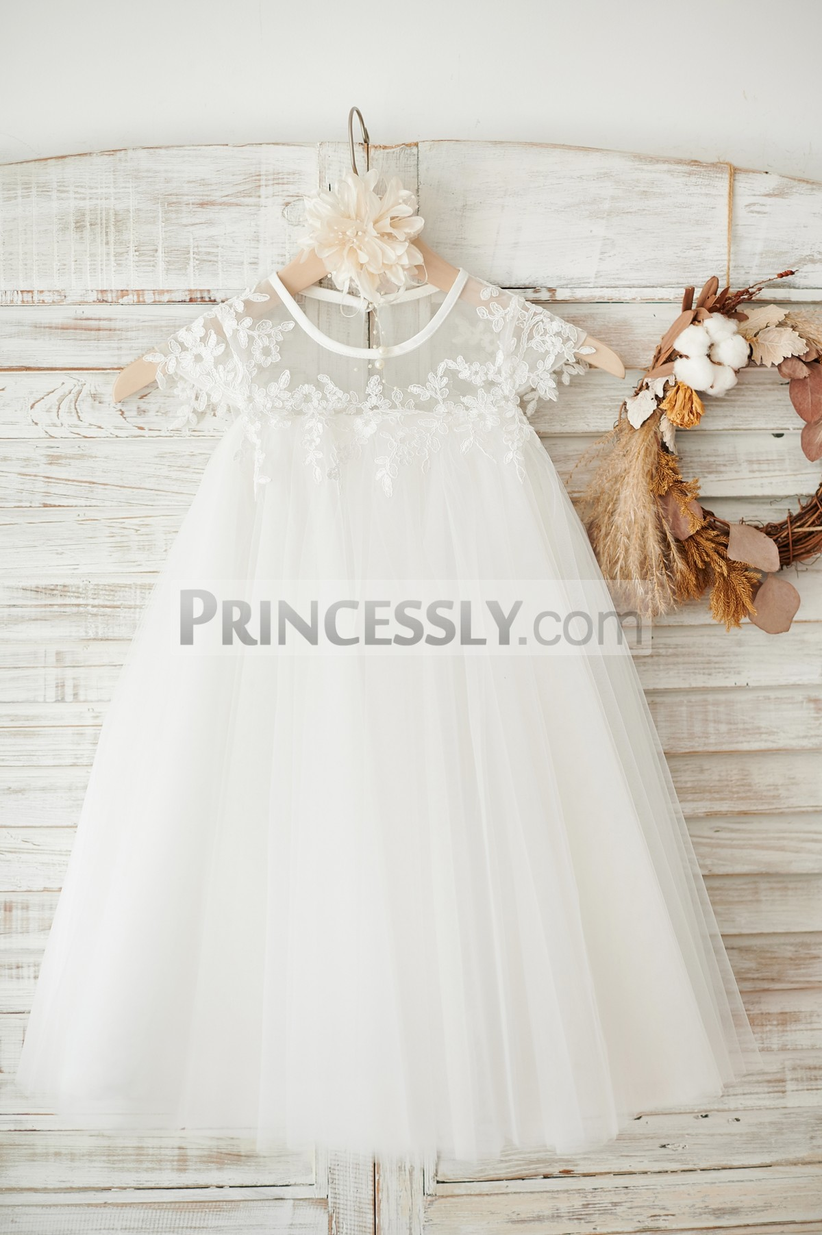 Sheer neck ivory tulle bohemian flower girl dress