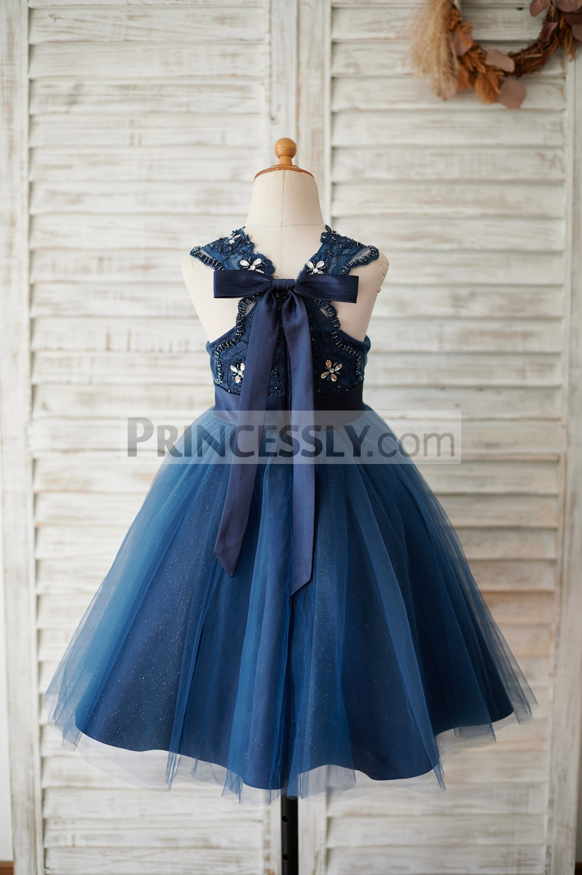 Cross back navy blue lace tulle flower girl dress
